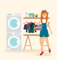woman housewife washes clothes laundry room with vector image
