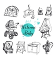 set of highly detailed hand drawn baby vector image