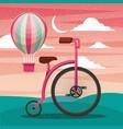 bike with air balloon basket recreation adventure vector image
