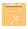 2019 happy new year september calendar template vector image vector image