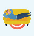 a man lying on sofa and holding a cup hot vector image vector image