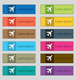 airplane icon sign Set of twelve rectangular vector image vector image