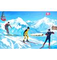 Alps winter mountain welcome card vector image