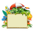 bamboo frame with beach accessories vector image