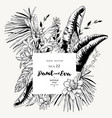 black white greeting card of tropical vector image vector image