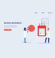 blood research banner with doctors cartoon vector image vector image