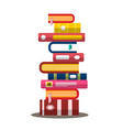 book flat design heap pile of books vector image vector image