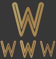 Bronze line w logo design set vector image vector image