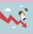 businesswoman on falling down chart vector image vector image