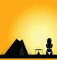 camping nature with girl in bikini silhouette vector image vector image