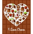 Chocolate heart poster Love to sweets concept vector image