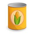 corn tin can icon cartoon style vector image