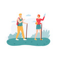 couple hiking on nature with walking sticks man vector image