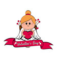 cute cupid girl with a heart shape vector image vector image