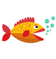cute fish open mouth with blowing bubbles cartoon vector image vector image