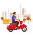 delivery man riding red scooter in city vector image vector image