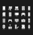 device white silhouette icons set vector image vector image