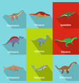 dino icons set flat style vector image vector image