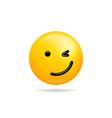 emoji smile icon symbol winking face yellow vector image vector image