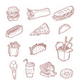 fastfood icon set hand drawn sketch vector image