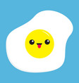 fried egg icon cute cartoon character funny emoji vector image