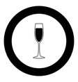 glass champagne icon black color in circle vector image vector image