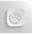 Globe icon - white app button vector image vector image
