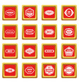 golden labels icons set red vector image vector image