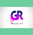 gr g r purple letter logo design with liquid vector image vector image