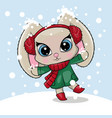 greeting card cute cartoon rabbit with a snow on vector image vector image