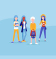 group girls friends stand together students vector image vector image