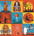 halloween creepy posters and cards template set vector image