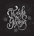 hand drawn happy thanksgiving lettering poster vector image vector image