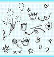 hand drawn set elements on paper arrow heart vector image
