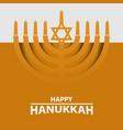 hanukkah menorah on light yellow background happy vector image