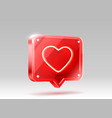 heart neon like icon sign follower 3d banner vector image