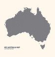 hexagonal halftone design australia map vector image