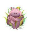 hippopotamus mother holding her child bahippo vector image