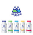 m letter mountains dairy products packaging vector image vector image