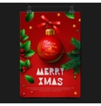 Merry Christmas festive greeting card with ball vector image vector image