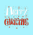 merry christmas inscription with snowflakes trees vector image vector image