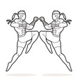 muay thai action thai boxing jumping to attack vector image vector image