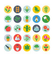 nature and ecology flat circular icons 3 vector image