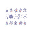 new year line icons set vector image vector image