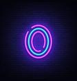 number zero symbol neon sign number zero vector image