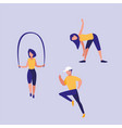 people praticing exercise avatar character vector image