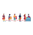queue in clothing store people social distance vector image vector image