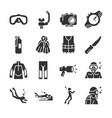 scuba diving icon set vector image vector image