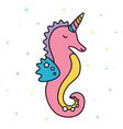 seahorse unicorn pastel colorful cute creature vector image vector image