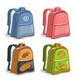 set colorful kids backpacks vector image vector image